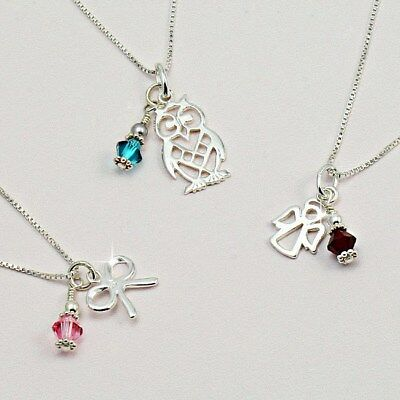 Birthstone Necklace 925 Sterling Silver, Choice of Pendant. Ladies or Girls