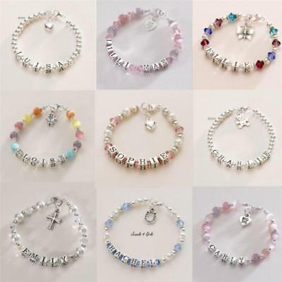 Sterling Silver Name Bracelets for Girls, Personalised Children's Jewellery