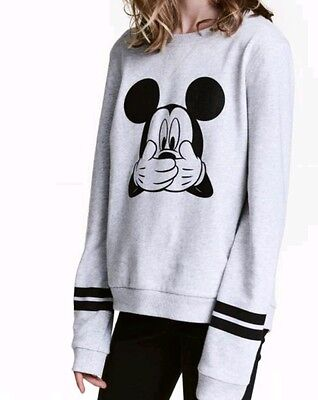 Disney official Micky Mouse H&M Girls jumper grey brand new brushed for warmth