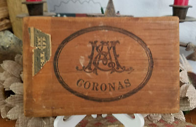 Vintage Small Wooden Wood Coronas Cigar Box Partial Stamp