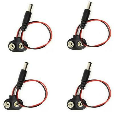 4pcs 9V Power Cable Battery Clip 2.1mm DC Jack Plug pour Arduino CCTV