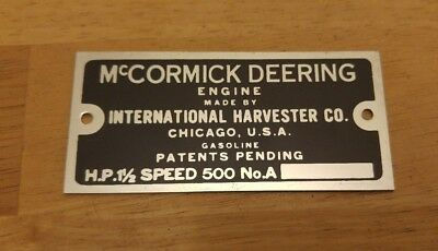 NEW McCormick Deering IHC 1-1/2 HP M Aluminum Collector Tag Gas Engine Hit Miss