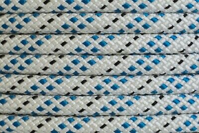 Polyester Double Braided Rope 10mm x 100m, White/Blue Fleck