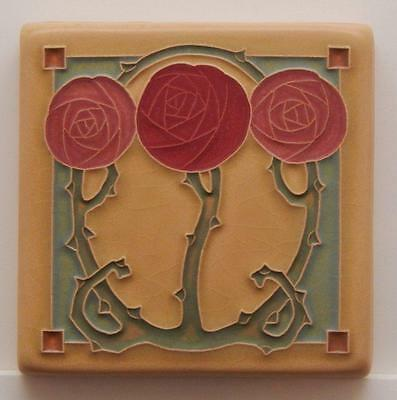 4x4 Arts & Crafts Macintosh Rose Tile in Red by Arts & Craftsman Tileworks