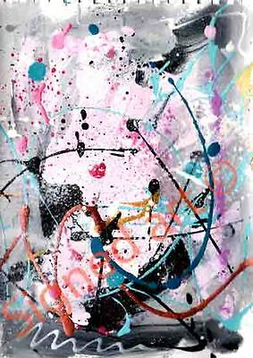 A4 abstract pinks grey black white & more abstract signed art work set of three