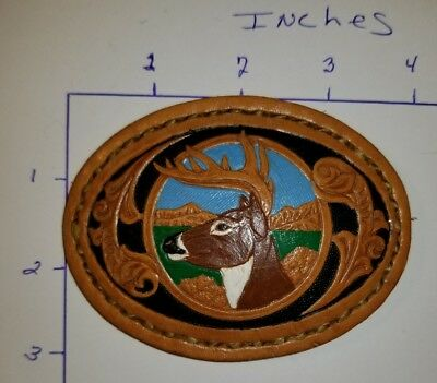 Leather Hand Painted Whitetail Deer Buck Belt Buckle.