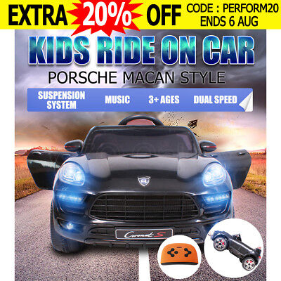 Kid Electric Ride On Car Battery Porsche Macan Style Children Toy Remote Black
