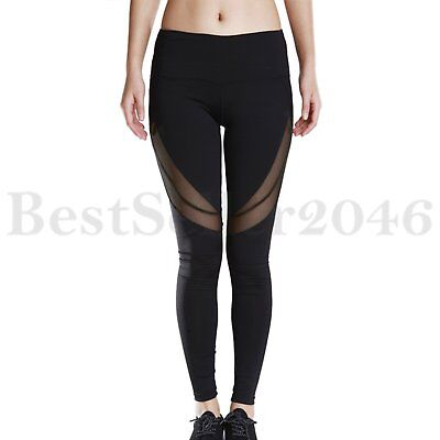 Womens Sport Gym Mesh Yoga Workout Fitness Leggings Stretch Trousers High Waist