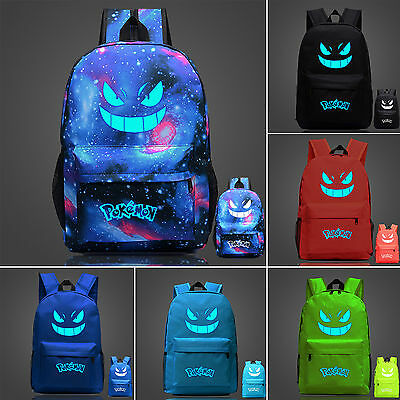 Backpack Rucksack Unisex Girl Boy Pokemon Go Luminous Galaxy School Shoulder Bag