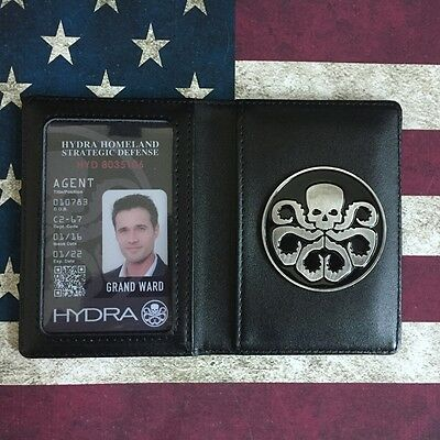 Agents of S.H.I.E.L.D. SHIELD Skull Hydra Badge Holder Case + Customized ID Card