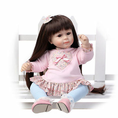 20''Newborn Baby Doll Reborn Doll Long hair Handmade Silicone Vinyl Sweet Girl