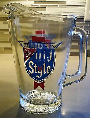 Vintage ~ OLD STYLE ~  GLASS BEER PITCHER ~ Great Man Cave Item