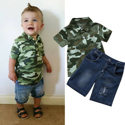 AU 2pcs Toddler Baby Boys Kids Shirt Tops+ Short Jeans Pants Clothes Outfits Set