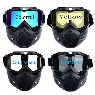 Detachable Modular Motorcycle Helmet Face Mask Shield Goggles & Eyewear Goggles
