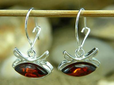 Silver-Marco M144- Certified Baltic Amber & 925 Sterling silver Cognac Earrings