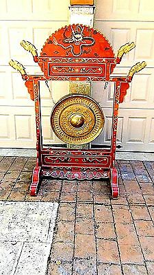 ANTIQUE 19c CHINESE LARGE CEREMONIAL RED LACQUERED GESSO ,GILT DRAGON  DRUM,GONG