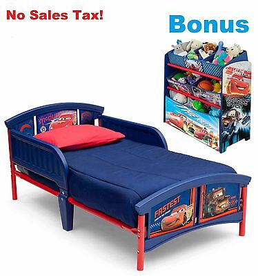 Toddler Bed W/ Bonus Organizer Multi Bin Bundle Disney Cars Kids Bedroom Storage