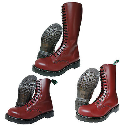 SOLOVAIR NPS HAND Made in England Cherry Red Steel Toe Boots
