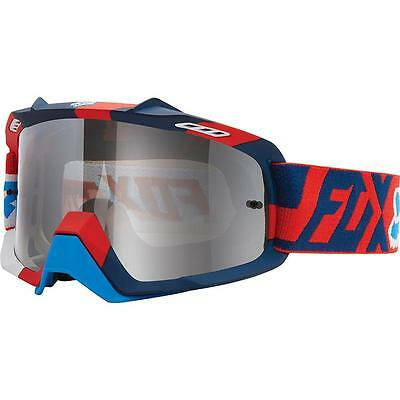 New Fox Air Space Division Chrome Spark Lens Red White Adult Goggles Mx Dirtbike