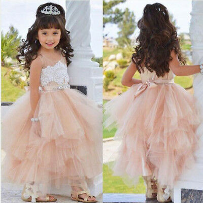 Flower Girls Dress Kids Princess Bridesmaid Wedding Pageant Formal Tutu Dress