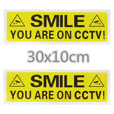 2x SMILE YOU ARE ON CCTV VIDEO CAMERA Sticker Warning Security Signs Vinyl Decal
