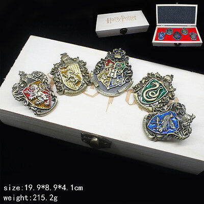 5PC Harry Potter Hogwarts School Hufflepuff House Crest Badge Pin + Custom Box