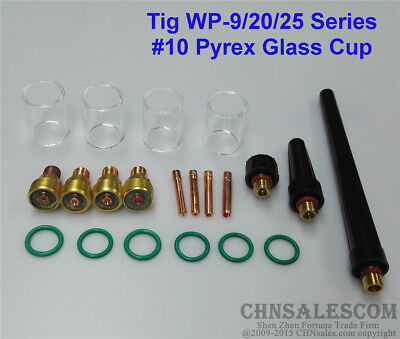 21 pcs TIG Welding  Gas Lens #10 Pyrex Glass Cup Kit for WP-9/20/25
