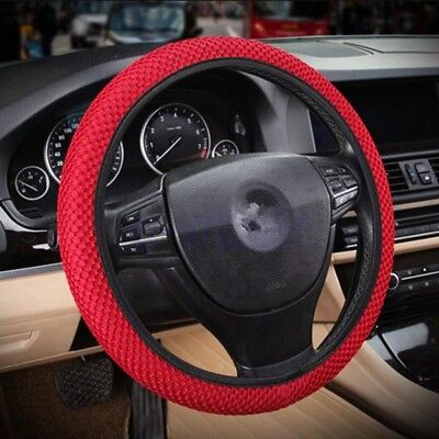 Universal Car Auto Non slip Elastic Mesh Steering Wheel Cover Glove 38cm Red BH