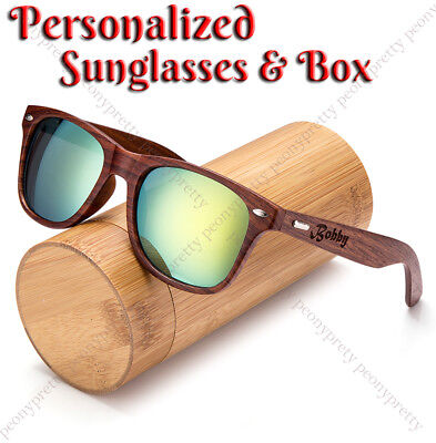 Personalised Engraving Walnut Wood Mirrored Sunglasses Groomsmen Birthday Gift h