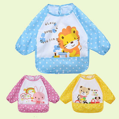 USA Long Sleeve Baby Bibs Apron Waterproof Art Smock Feeding Toddler Children