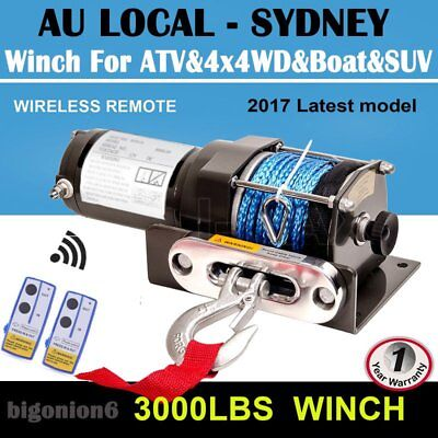 3000LBS/1361KG Electric Winch 12V Synthetic Rope Wireless Remote ATV 4x4WD Boat~