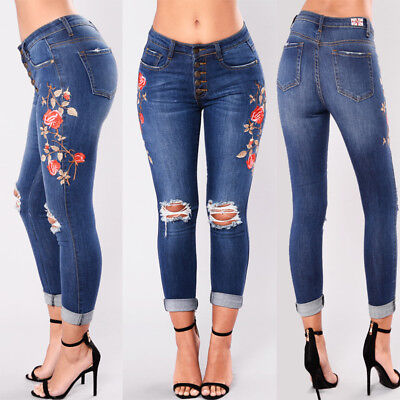 US Women Floral High Waist Pencil Jeans Trousers Flower Embroidered Denim Pants
