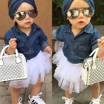 3pcs Toddler Kids Baby Girl Denim Shirt Tops+Tutu Skirt Dress Outfit Clothes Set