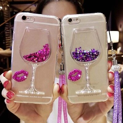 Liquid 3D Wine Glass Cocktail Bottle Phone Case Cover For Samsung S5/6/7/8 EDGE