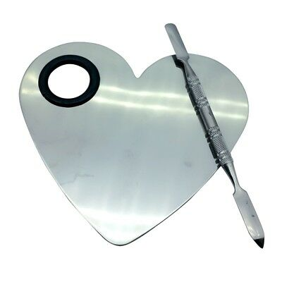 Heart Stainless Steel Palette With Hole+Spatula Cosmetic Mixing Tool For Makeup