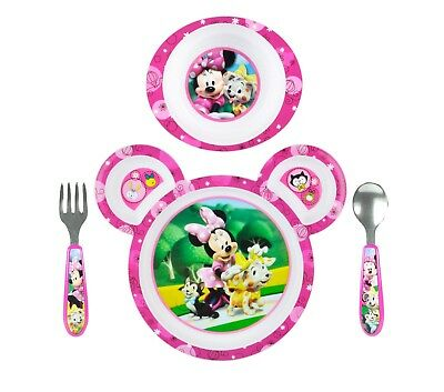 Kids Disney Plate Feeding Set Toddler Baby Infant Food Eat Minnie Mouse Plastic