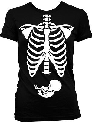 e5cfeda39433e Pregnant Skeleton - X-Ray Baby Expecting Funny Halloween Juniors T-shirt