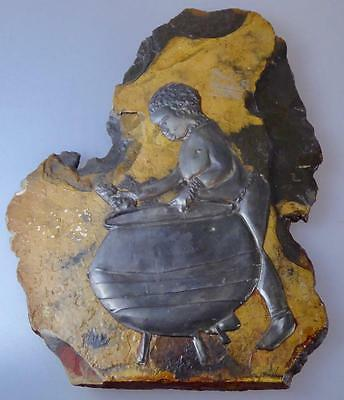 Rare African Mutepa? Congo? Metal Bas Relief Woman + Cooking Pot