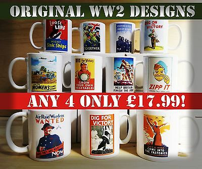 Vintage Original 1940s design WW2 mugs CHOOSE ANY 4 only £17.99! WWII