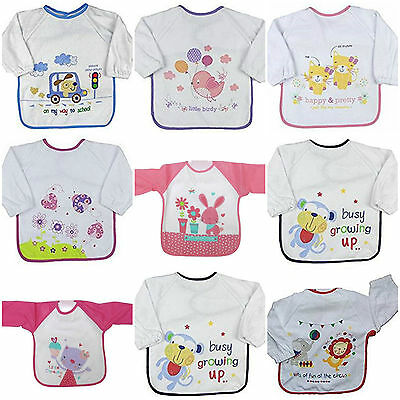 Baby Babies Coverall Long Sleeve baby Bibs bib Terry Waterproof Back