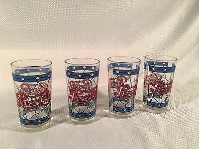 Vintage 1970 Tiffany Stained Glass Style Pepsi Cola Glasses ~ Set of 4