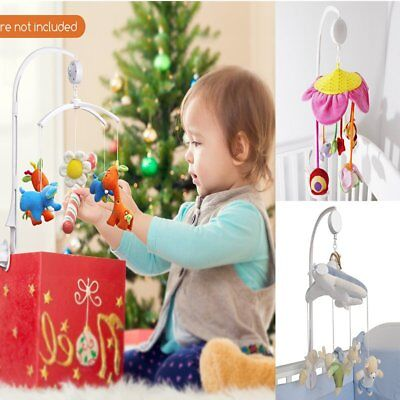 Baby Crib Mobile Bed Bell Holder Kid Toy Bracket Wind-Up/Auto Music Box White