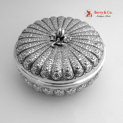 Round Box Large Ornate 800 Silver Italy 1900