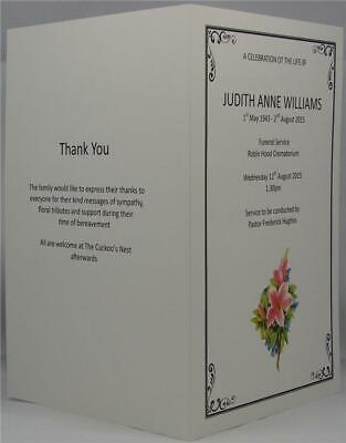 Personalised Ivory Or White A5 Funeral Memorial Order Of Service Lily Design