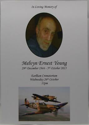 Personalised Ivory Or White Funeral Memorial Order Of Service War Veteran Theme