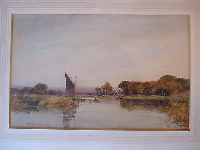 Horning Ferry, Norfolk Signed Original Watercolour By Wilfrid Williams Ball 1897