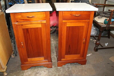 pair antique bedsides pot cupboards night stands