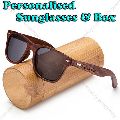 New Personalised Engraving Walnut Wood Sunglasses Groomsmen Birthday Xmas Gift