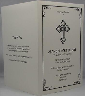 Crucifix Funeral Memorial A5 Order Of Service Personalised Ivory Or White