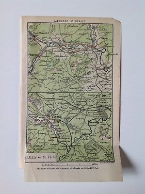 Melrose, Falls Of Clyde, Scotland 1883 Antique Map Wagnes & Debes Atlas